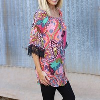 Picture Perfect Paisley Tunic with Bell Sleeve ~ Fuchsia