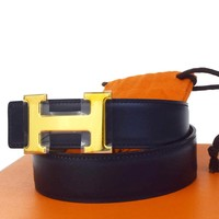 Auth HERMES Constance H Buckle Belt Leather Gold-tone Black Brown #65 88BA501