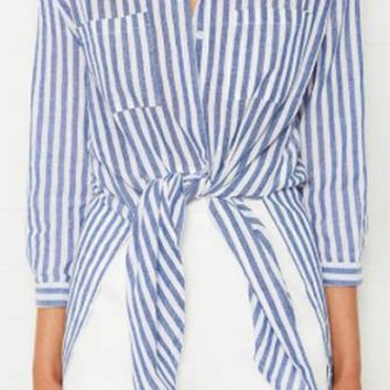 Boy Toy Blue White Vertical Stripe Pattern 3/4 Sleeve Button Down Tie Front Blouse Top