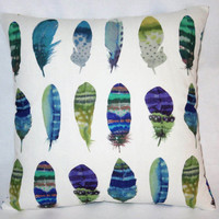 """Watercolor Feathers Pillow in White Cotton, Purple, Blue, Green, Turquoise Print, 17"""" Sq, Bird Lovers Gift, Cover Only or Insert  Included"""