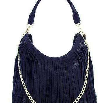 Wrap It Up Navy Fringe Purse