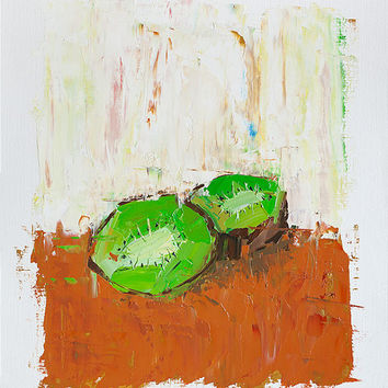 Kiwi Fruit Painting, Small Wall Art, Still Life Painting, Small Oil Painting, Kitchen Decor, Original Abstract Painting, Colorful Fine Art
