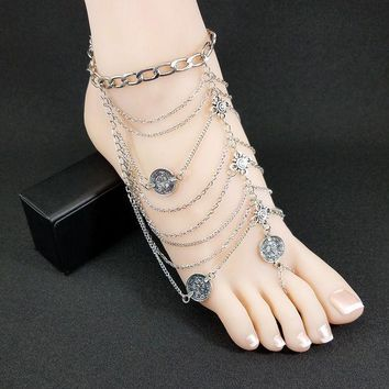 PEAPGB2 2016 Fashion Bohemia Barefoot Beach Sandals Bridal/Wedding Anklet Retro Foot Jewellery Beach Body Chain Anklets For Women SP201