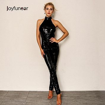 Joyfuner 2018 fashion Black Sequin Jumpsuits Sexy Women Halter Backless Celebrity Party Jumpsuits Hip Zipper Pencil Rompers