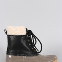 Women's Faux Shearling Ankle cuff Lace Up Duck Ankle Boots