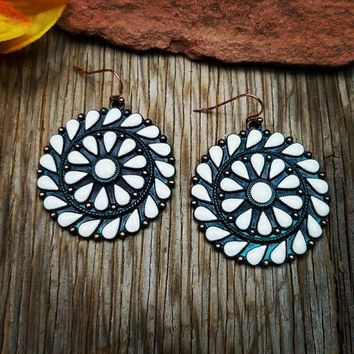 White & Patina Round Earrings
