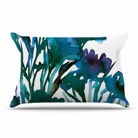 "Ebi Emporium ""Petal For Your Thoughts Teal"" Turquoise Green Pillow Case"