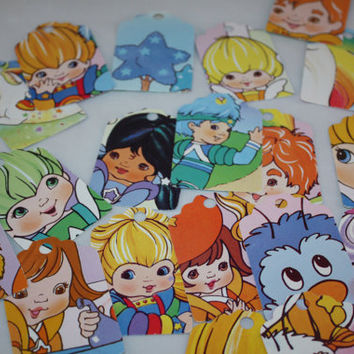 Die Cut Repurposed Rainbow Brite Happy Birthday Buddy Blue (Set of 10)