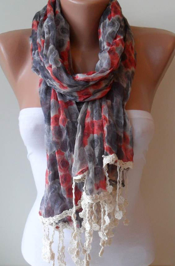 ON SALE - Grey and Red  - Flowered Scarf - with Grey Trim Edge