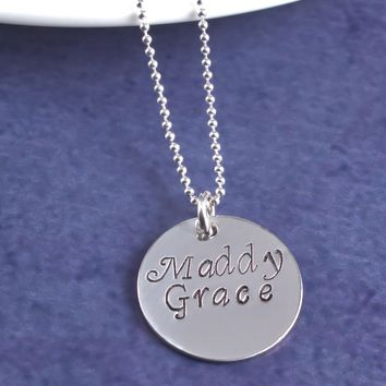 Sterling Silver Mothers Necklace, Name Necklace, One Disc