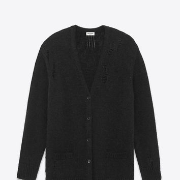 SAINT LAURENT OVERSIZED GRUNGE V NECK CARDIGAN IN BLACK MOHAIR, NYLON AND WOOL | YSL.COM