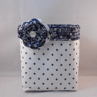 Navy And White Twinkle, Twinkle, Little Star Fabric Basket With Detachable Fabric Flower Pin For Storage Or Gift Giving