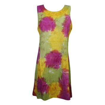 Mogul Womens Tie Dye Rayon Tank Dress Sleeveless Summer Fashion Embroidered Cover Up Beach Dresses - Walmart.com
