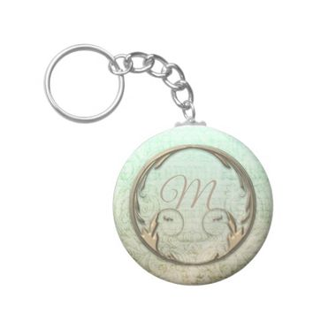 Victorian script and floral scroll keychain
