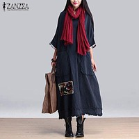 ZANZEA Women Vintage Elegant Dress  Spring Splice O Neck 3/4 Sleeve Pockets Casual Loose Solid Maxi Long Oversized Vestidos