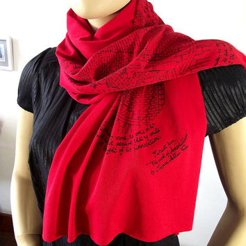 Edgar Allan Poe Literary Scarf Quote Scarf Literary Scarf  RED Text Scarf with original illustration Raw Edge Cowl Scarf Book Lovers Scarf