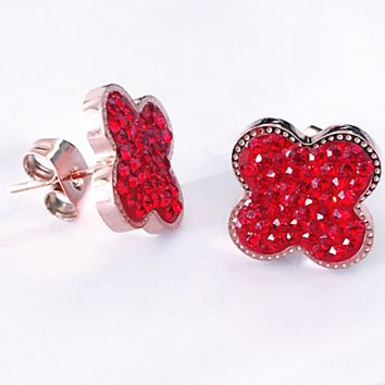Four-leaf clover, fashionable red filled with round earring, four-leaf clover studs
