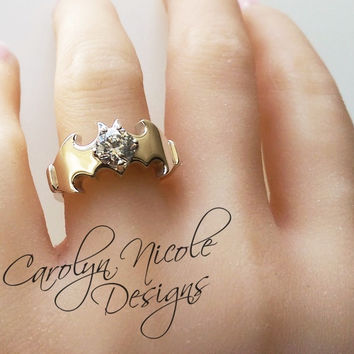 Batman Solitaire Engagement Ring (White Sapphire) by Carolyn Nicole Designs