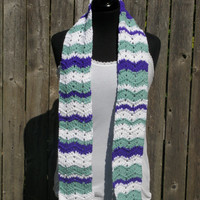 White purple and green chevron scarf, multicolor scarf, striped scarf