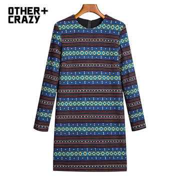 OTHERCRAZY 2016 spring new national printing straight Short Dress Woman
