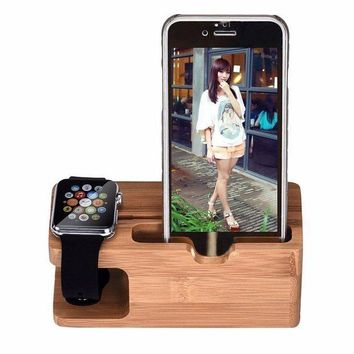 CREYNO Bamboo Wood Charging Station Charger Dock Stand Holder
