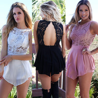 Women's Fashion See Through Embroidery Lace Patchwork Backless Sexy Romper [8096509703]