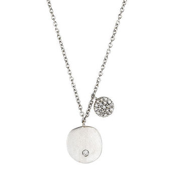 White Gold Disc Necklace with Diamond Disc