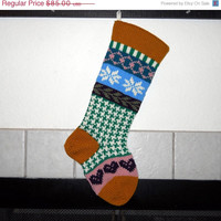 Personalized Hand Knit Christmas Stocking in Gold with hearts and snowflakes, Fair Isle Christmas stocking, Houndstooth Christmas Stocking