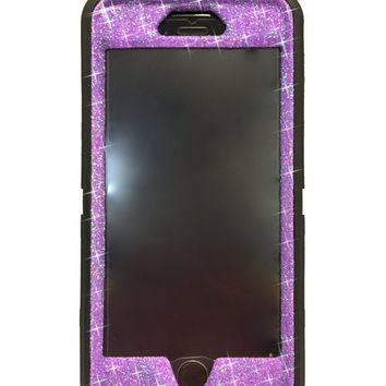 iPhone 6 Plus OtterBox Defender Series Case Glitter Cute Sparkly Bling Defender Series Custom Case  black /sugar plum