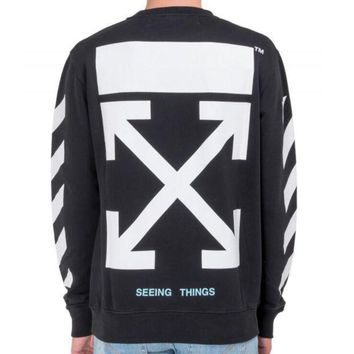 Off White Autumn And Winter New Arrow Striped Crewneck Sweater Black