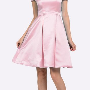 Off Shoulder A-line Homecoming Dress with Pockets Pink