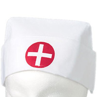 White Cotton Costume Nurse Hat Red Cross Uniform Cap