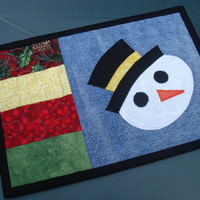 Holiday Snowman Recycled Denim Mug Rug