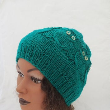 Women Owl Hat, Cable Benie Hat, Owl Hat in Emerald Green, Owl hat in Red, Handmade Hat