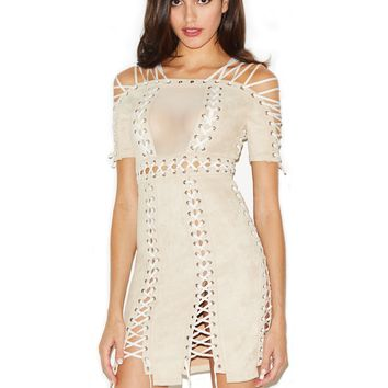 Tehya Beige Lace Up Detail Suedette Bodycon Dress