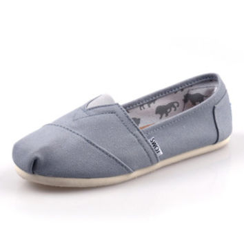 Men Women Soft Casual Canvas Summer Breathable TOMS Shoes Gray Flats