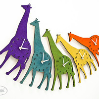 The Joyful Giraffe designer wall mounted clock from by LeLuni