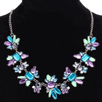 Artificial Crystal Water Drop Geometric Adorn Necklace