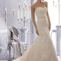 Mori Lee 2676 Slim A-line Lace Wedding Dress