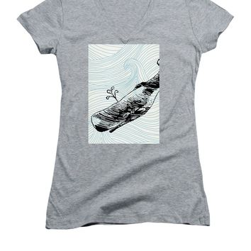 Whale On Wave Paper - Women's V-Neck (Athletic Fit)