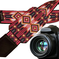 Camera strap inspired by Native Americans. Red, white, black ornaments.  Bright pocket camera strap. Personalized gifts. Holiday gifts.