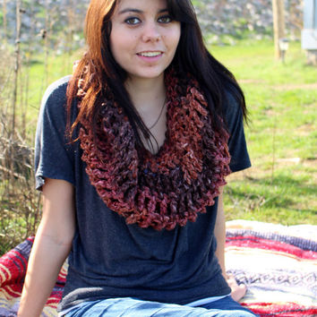 FREE SHIPPING - Crochet, Cowl, Infinity, Scarf - Unisex, Mens, Womens - Maroon, Dark Red, Tan, Brown, Pink