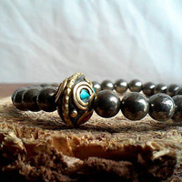 Pyrite Stretch Bracelet - Pyrite Ethnic Bracelet - Fool's Gold Bracelet - Pyrite and Brass with Coral and Turquoise Bracelet - Stackable