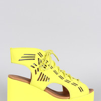Qupid Neon Laser Cutout Platform Wedge