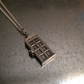 Sterling Silver Phone Booth Locket Necklace, Geekery gift, phone booth necklace, gift for her, girlfriend gift, sci fi gift