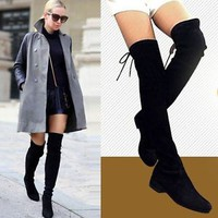Size 5-10 Women Cow Leather Over the Knee Flat Boots Slim Leg Thigh High Booties