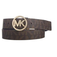 New Micheal Kors Signature Mk Logo Chocolate Women Size Large 100% Authentic