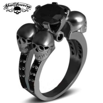 'Rotonde Teschi Neri' Four Skulls Black Sapphire Wedding/Engagement Ring (w004)