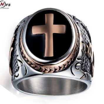 NFS Size 7-13 Cool Vintage Silver Gold Black Two-Tone Holy Cross Signet Ring Prayer Christian Jesus Religious Cocktail Valentine