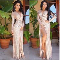 Beige Sequin V-Neck Wrap Around High Split Maxi Dress